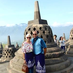 My husband and I at the  perforated stupa  at Borobudur