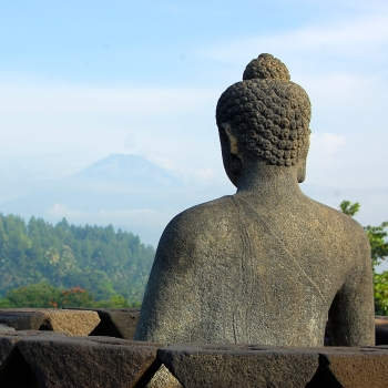 Buddah at the top of Borobudur temple